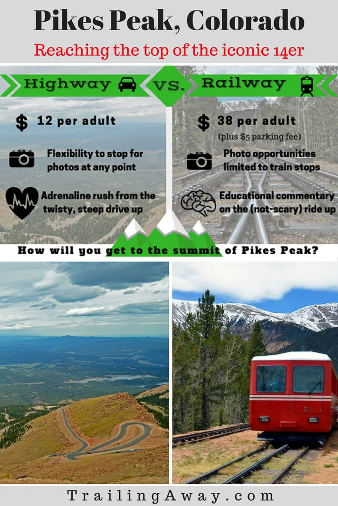Thinking of taking a trip to the summit of Pikes Peak in Colorado? The journey is half the fun! Check out these reviews on the Pikes Peak highway vs. railway.#colorado #pikespeak #coloradosprings #railway #14er