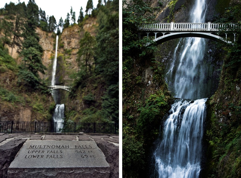 multnomah falls sign showing information and a closeup of the falls.