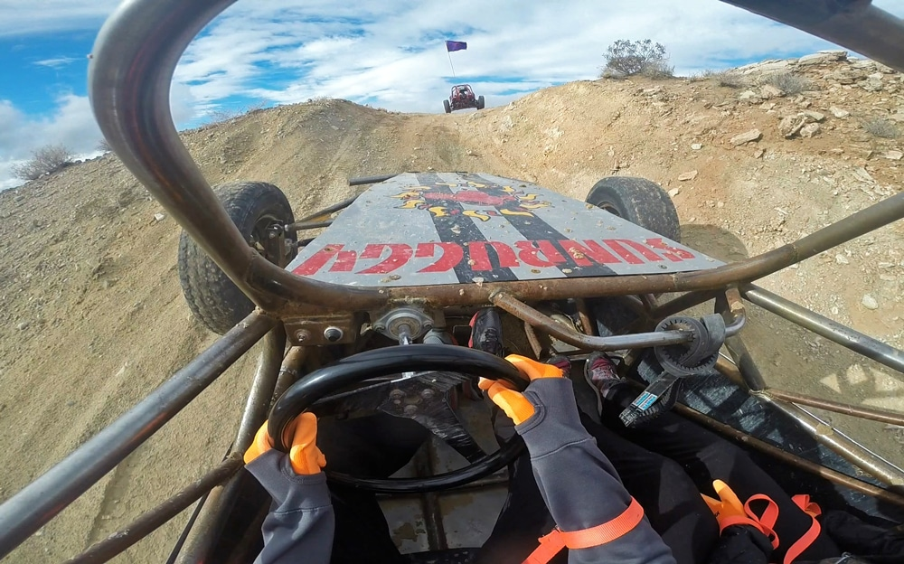 Driving a dune buggy in the dunes of las vegas