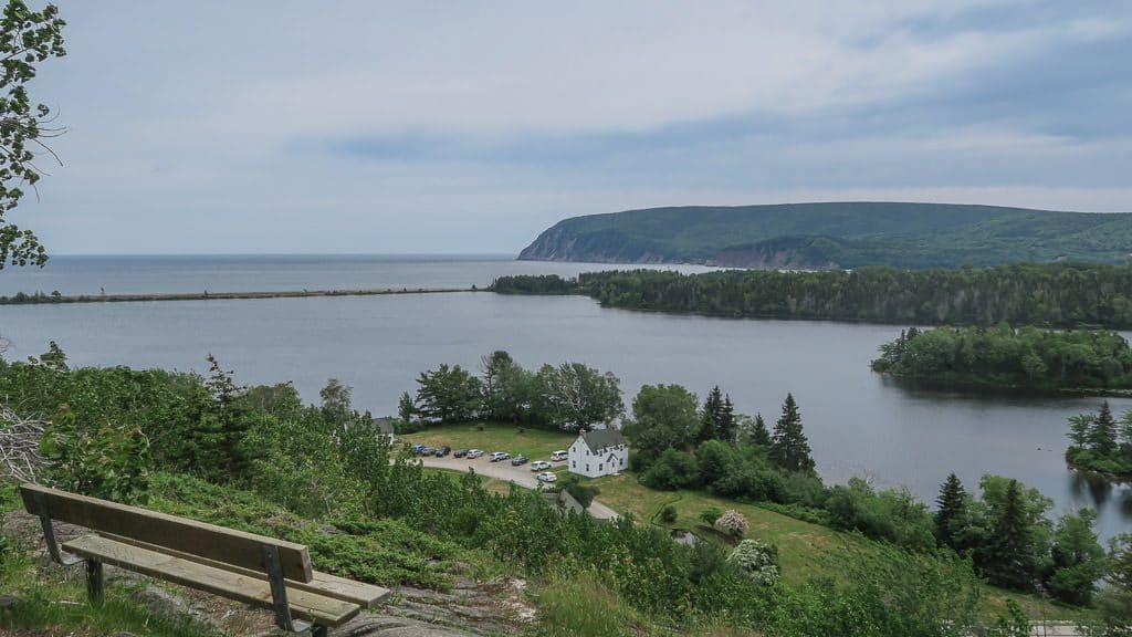 View from the top of Freshwater Look-off, looking out onto Freshwater Lake as well as the visitor center and parking area