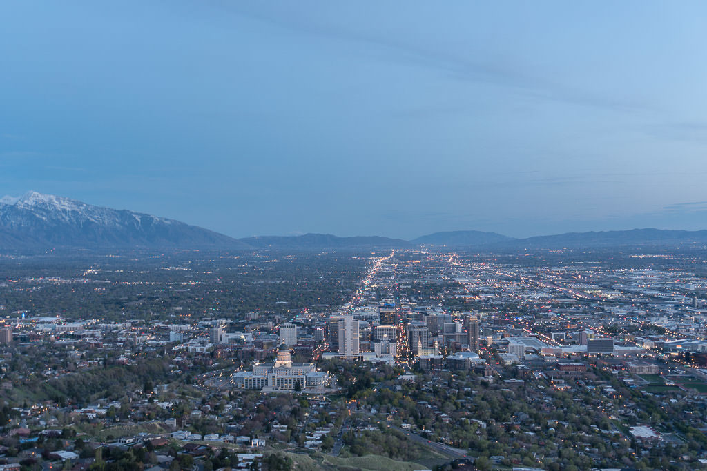 views of salt lake city from local hiking spot while House and Pet Sitting