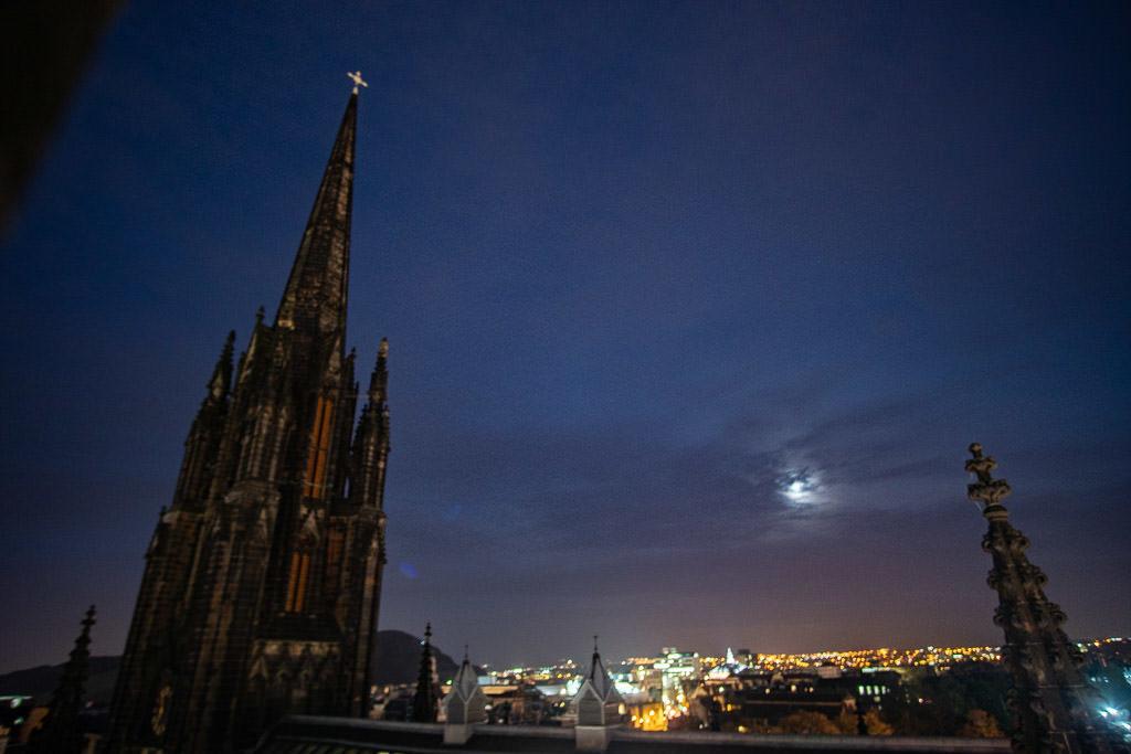 night views of Edinburgh Scotland with moon